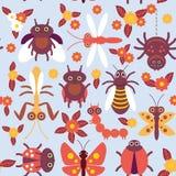 Modèle sans couture d'insectes d'araignée de papillon de chenille de libellule de mante de scarabée de coccinelles drôles de guêp Photo libre de droits