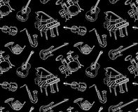 Modèle sans couture d'instruments de musique Photographie stock