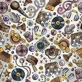 Modèle sans couture d'instruments de musique tirés par la main de bande dessinée illustration de vecteur