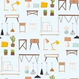Modèle sans couture d'intérieur d'architecture contemporaine plate de concept de décor de maison d'appartement de conception inté Images libres de droits