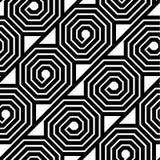Modèle sans couture d'octogone de vecteur noir et blanc abstrait de spirale Photo stock