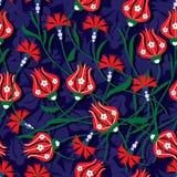 Modèle sans couture d'oeillet de tulipe de tabouret illustration stock