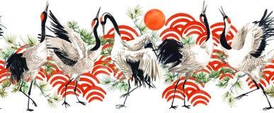Modèle sans couture d'oiseau japonais de grue d'aquarelle illustration libre de droits