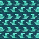 Modèle sans couture d'oiseaux de papier plats d'origami en turquoise Photo stock