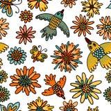 Modèle sans couture d'oiseaux, de papillons et de fleurs Illustration mignonne dans le style de bande dessinée pour les textiles  illustration stock