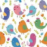 Modèle sans couture d'oiseaux mignons illustration stock