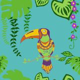 Modèle sans couture d'oiseaux tropicaux, modèle répété par feuilles tropicales exotiques colorées Backround de forêt tropicale d' illustration de vecteur