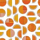Modèle sans couture d'oranges tirées par la main de résumé Dirigez le fond coloré dans le style moderne Texture drôle rayée pour illustration de vecteur