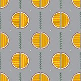 Modèle sans couture d'oranges tirées par la main de résumé Dirigez le fond coloré dans le style moderne Texture drôle rayée pour illustration libre de droits