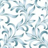 Modèle sans couture d'ornement floral abstrait avec les feuilles courbées Filigrane bleu d'isolement sur le fond blanc Images libres de droits