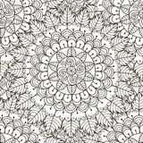 Modèle sans couture d'ornement floral Texture ronde noire et blanche d'ornement Image stock