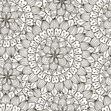Modèle sans couture d'ornement floral Texture ronde noire et blanche dans le vecteur Photo libre de droits