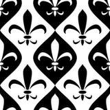 Modèle sans couture d'ornement royal abstrait noir et blanc de lis, vecteur Photographie stock libre de droits