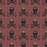 Modèle sans couture d'os de crâne et de croix illustration stock