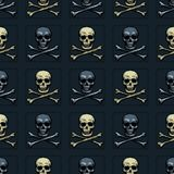 Modèle sans couture d'os de crâne et de croix illustration libre de droits