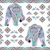 Modèle sans couture d'ours fait à partir des fleurs, feuilles dans le style ethnique Images stock