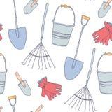 Modèle sans couture d'outil de jardin illustration stock
