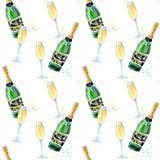 Modèle sans couture d'un champagne et des verres illustration libre de droits