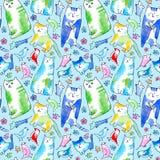 Modèle sans couture d'un chat, d'un oiseau, d'une souris, d'une fleur et d'une patte illustration de vecteur