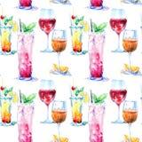 Modèle sans couture d'un cocktail avec le citron et la menthe, vin rouge, aperol Photo d'une boisson alcoolisée illustration de vecteur