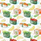 Modèle sans couture d'un gunkan, des sushi et d'un petit pain Cuisine japonaise Images libres de droits