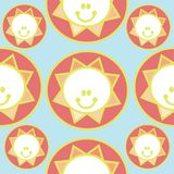Modèle sans couture d'un soleil de sourire Illustration de Vecteur