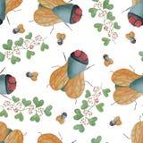 Modèle sans couture d'une mouche et une brindille avec des feuilles et des baies dans l'aquarelle Photographie stock