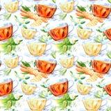 Modèle sans couture d'une tasse et un jasmin et un gingembre en verre illustration de vecteur