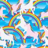 Modèle sans couture d'Unicorn Rainbow Images libres de droits