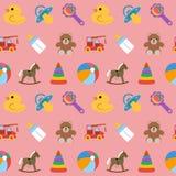 Modèle sans couture de bébé avec les icônes colorées Illustration de vecteur Image stock