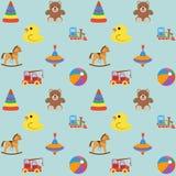 Modèle sans couture de bébé avec les icônes colorées, pour le garçon Photographie stock