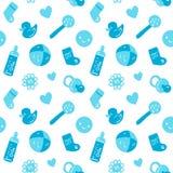 Modèle sans couture de bébé bleu de vecteur avec des jouets Image stock