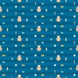 Modèle sans couture de bébé garçon bleu mignon Images stock