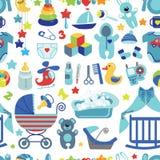 Modèle sans couture de bébé garçon nouveau-né Images libres de droits