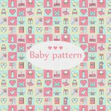 Modèle sans couture de bébé nouveau-né Modèle coloré de conception carrée illustration libre de droits