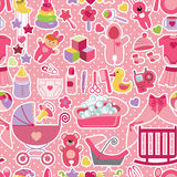 Modèle sans couture de bébé nouveau-né Point de polka illustration libre de droits