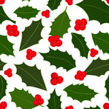 Modèle sans couture de baies de houx de Noël Illustration de vecteur illustration libre de droits