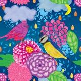 Modèle sans couture de baisse de nuage de dahlia de macaron d'oiseau Photos stock