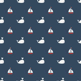 Modèle sans couture de baleines avec le bateau à voile sur le fond bleu illustration stock