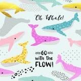 Modèle sans couture de baleines mignonnes Marine Background puérile avec les éléments abstraits Griffonnage à main levée de bébé  Illustration Stock