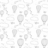 Modèle sans couture de baloon d'air chaud Images libres de droits