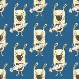 Modèle sans couture de bande dessinée de lapins, dessin de main, fond de vecteur Lapin jaune peint drôle avec une carotte dans le Images stock