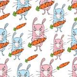 Modèle sans couture de bande dessinée de lapins, dessin de main, fond de vecteur Lapin peint drôle avec une carotte dans les patt Photographie stock libre de droits