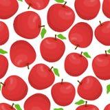 Modèle sans couture de bande dessinée de vecteur avec les pommes rouges illustration stock