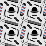 Modèle sans couture de Barber Shop avec les ciseaux de coiffure, la brosse de rasage, le rasoir, le peigne, le poteau de coiffeur illustration stock