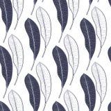 Modèle sans couture de beaucoup de feuilles de mangue d'isolement sur le fond blanc Schéma vecteur de dessin de main Images stock