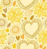 Modèle sans couture de beauté florale. Contexte jaune de Digital avec des coeurs et des fleurs Images libres de droits