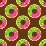 Modèle sans couture de beignet Images libres de droits