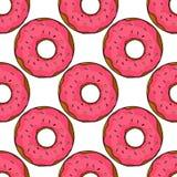 Modèle sans couture de beignets illustration de bande dessinée pour le design de carte, le menu, le tissu et le papier peint de s illustration libre de droits
