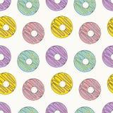 Modèle sans couture de beignets Illustration lumineuse de bande dessinée pour le design de carte, le menu, le tissu et le papier  illustration de vecteur